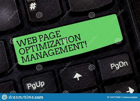 Web Page Optimization by Word Writing Text Web Page Optimization Management
