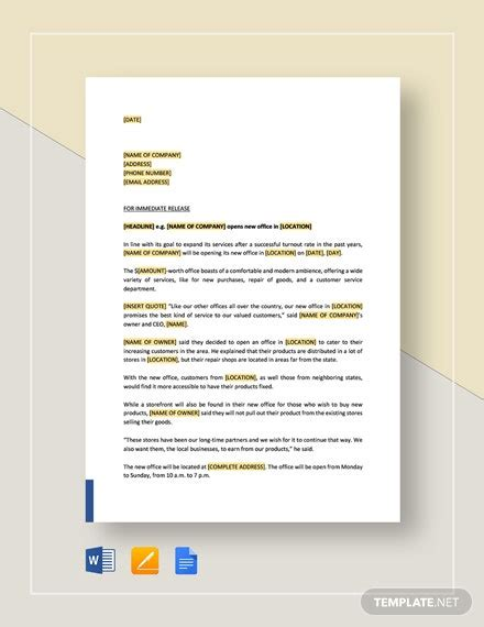 press release   office opening template word