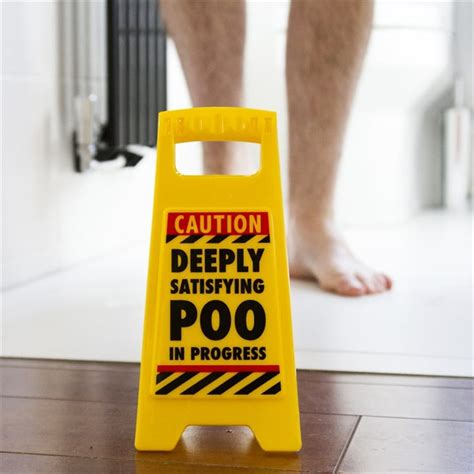funny warning sign satisfying poo find   gift