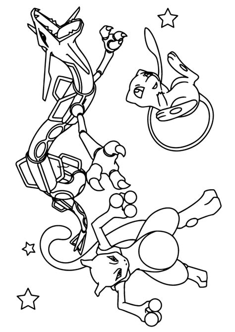 Kleurplaat Mewtwo by Mewtwo Rayquada And Mew Coloring Page Free Printable