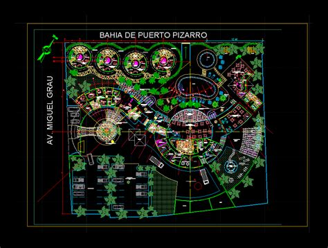 beach resort restaurant dwg design plan