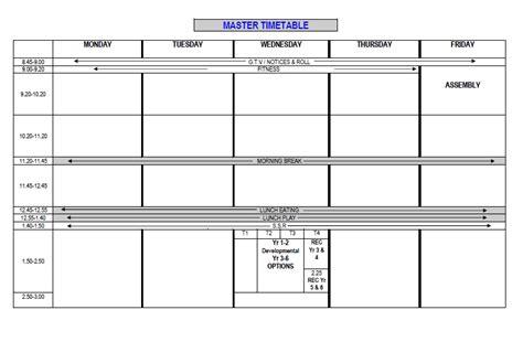 timetable templates  school  excel format