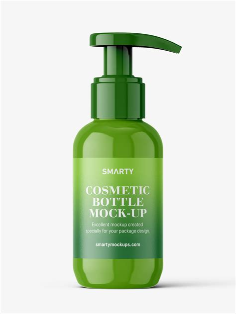 .mockup 55268 tif | 62 mb download file: Glossy bottle with pump mockup / 100 ml - Smarty Mockups