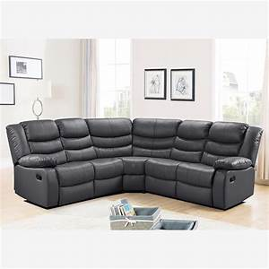 belfast corner sofa with recliner in grey bonded leather With grey sectional sofa uk