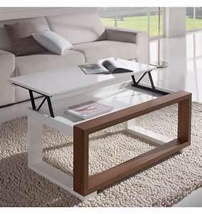 Table Basse Blanc Bois : table basse relevable plateau blanc et cadre bois meuble salon ~ Teatrodelosmanantiales.com Idées de Décoration