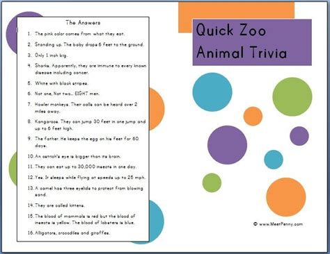 zoo field facts trip animal trivia animals activities fun quick printable game