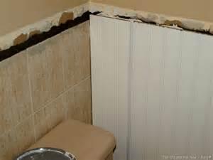 good bye old tile beadboard over tile bathrooms