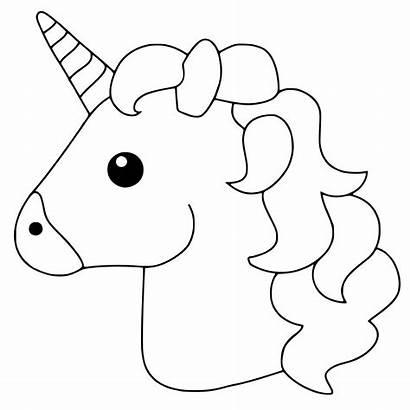 Unicorn Coloring Head Simple Printable Emoji Play