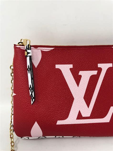 louis vuitton pochette double zip mono giant red pink bag  stdibs