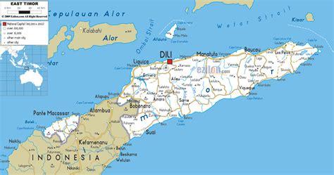 detailed clear large road map  east timor ezilon maps