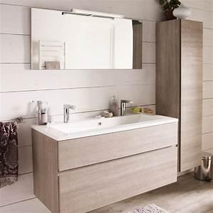 meuble de salle de bains decor chene clair 120 cm calao With miroir salle de bain chene clair