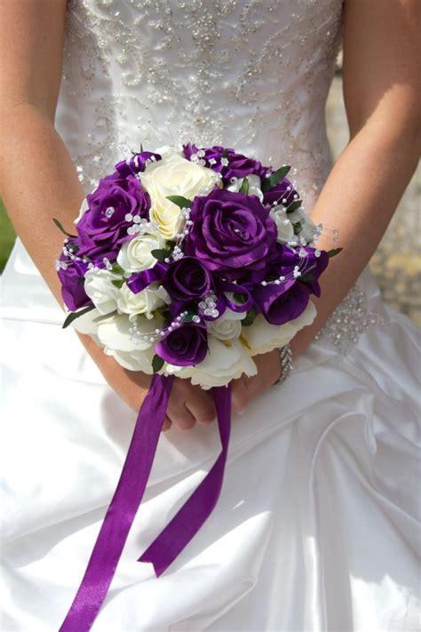 purple  white bridal bouquet bridesmaids  deep