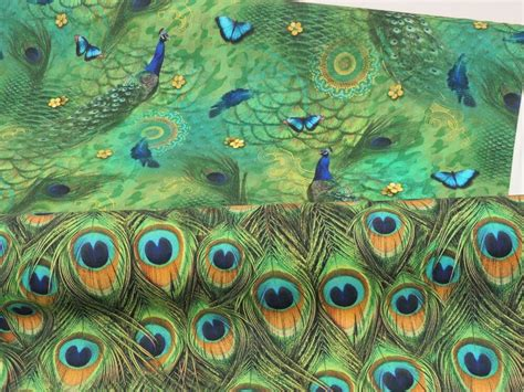 Peacock Feather Upholstery Fabric by Digital Designer Green Peacock Birds Feathers Cotton
