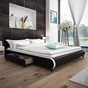 Lit En 180 : acheter lit en cuir synth tique noir avec 2 tiroirs 180 x 200 cm pas cher ~ Teatrodelosmanantiales.com Idées de Décoration