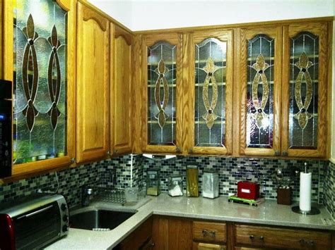Custom Glass Cabinet Doors by Crafted Stained Glass Custom Kitchen Cabinet