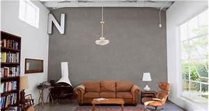 deco salon ambiance naturelle avec enduit decoratif With peindre un pan de mur en couleur 16 conseil peinture saloncuisine