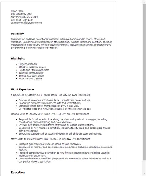 Fast Gym Receptionist Resume Cover Letter