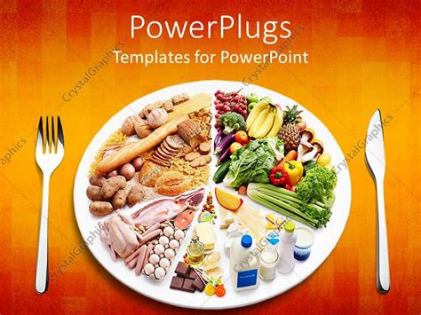 different types of cuisines in the powerpoint template different types of food in a plate with a fork and knife on the side 9426