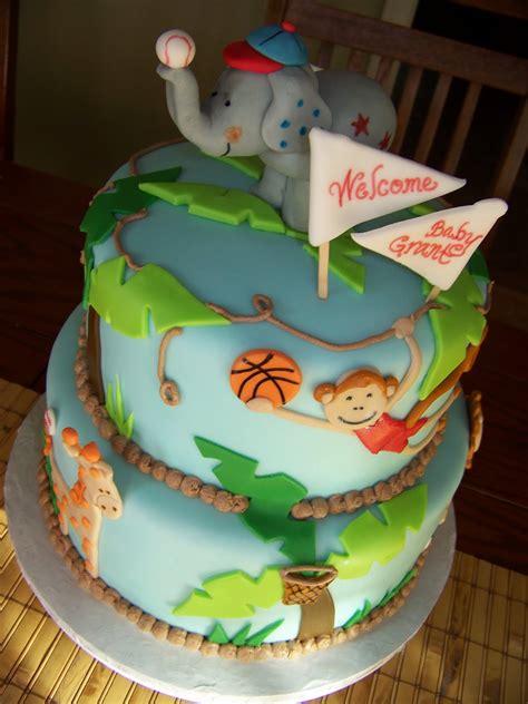 plumeria cake studio jungle sports baby shower cake