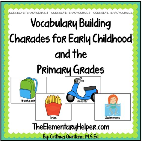 Charades For Vocabulary Building  The Elementary Helper