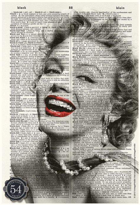 marilyn monroe vintage hollywood dictionary art
