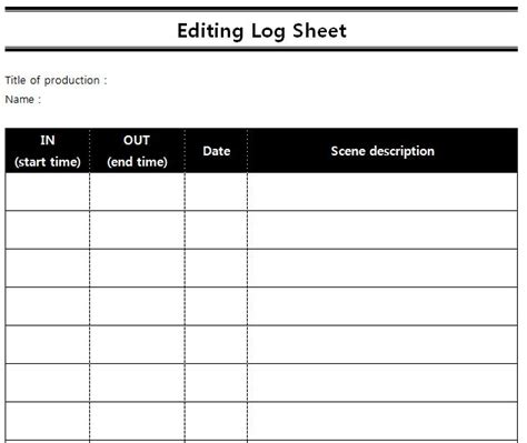 Reference Sheet Template Logging Sheets For Editing Seungyeon Han
