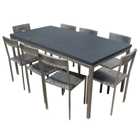 industrial steel and slate dining work table image 4