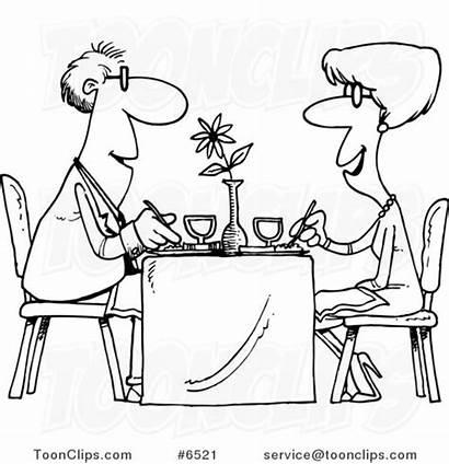 Restaurant Couple Dining Drawing Cartoon Line Leishman