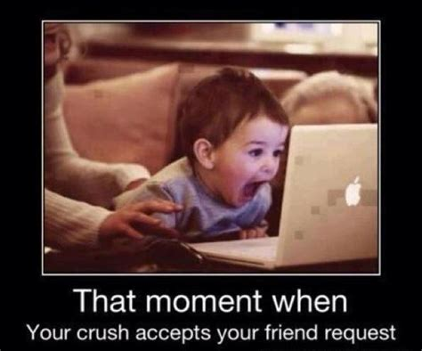 Cute Memes For Your Crush - that moment when your crush accepts your friend request picture quotes