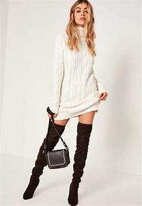 White brushed cable roll neck mini sweater dress missguided for Robe en maille hiver