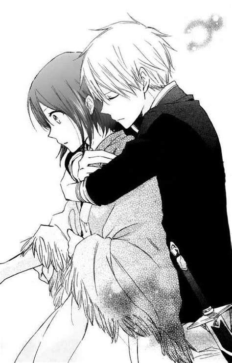 -, anime, anime couple, black and white, couple, girl, hug