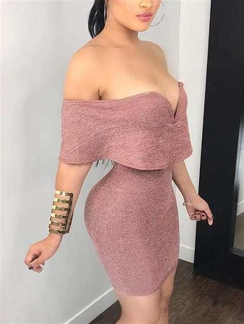 fold  solid bodycon mini dress  femininos