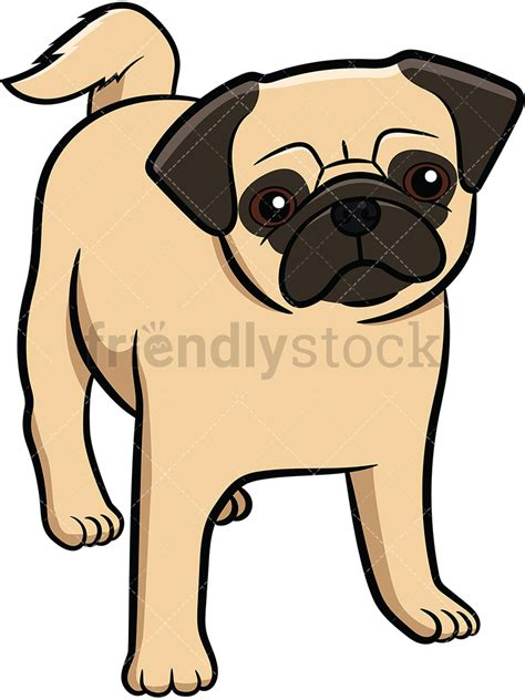 Pug Clip Apricot Pug Puppy Vector Clipart Friendlystock