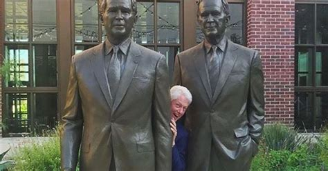 bill clinton takes cheeky photo   bushes huffpost
