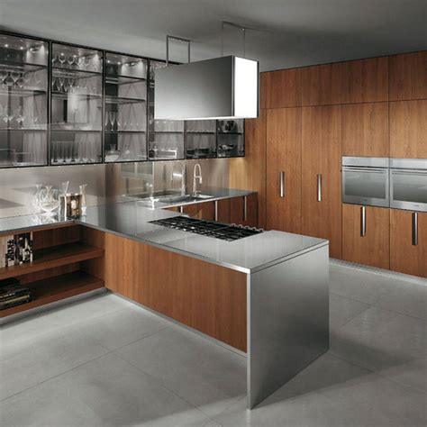 contemporary wood kitchen modern steel cabinet to keep organized 2552