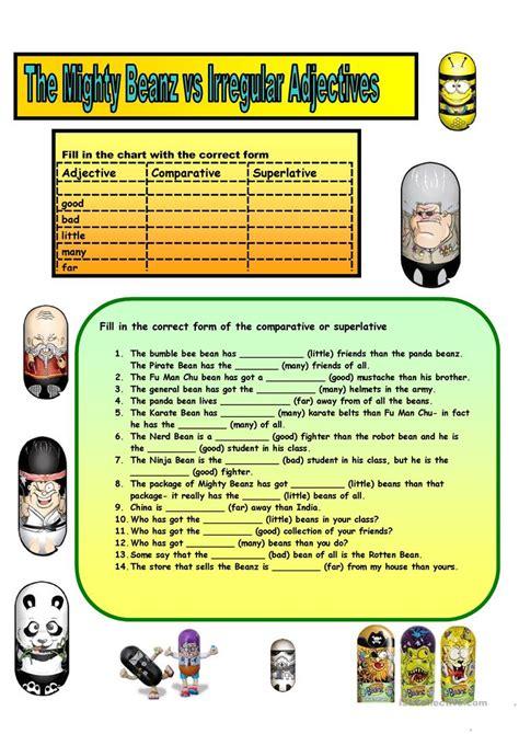 worksheet irregular adjectives kidz activities