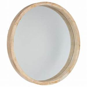 Miroir Rond à Suspendre : miroir rond bois scandinave 52cm marron ~ Teatrodelosmanantiales.com Idées de Décoration