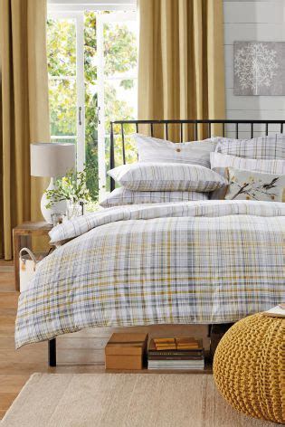 pack ochre grey check bed set