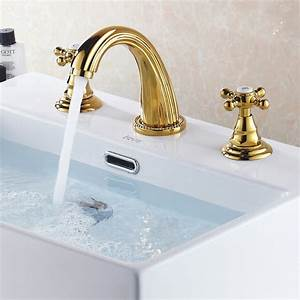 Suex luxury gold widespread bath sink faucet traditional for Gold bathroom sink taps