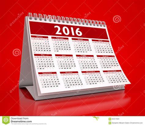 calendrier de bureau calendrier de bureau 2016 illustration stock