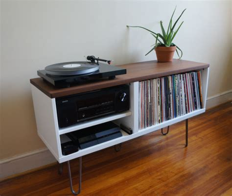 diy record player cabinet mid century modern record console ikea hackers ikea