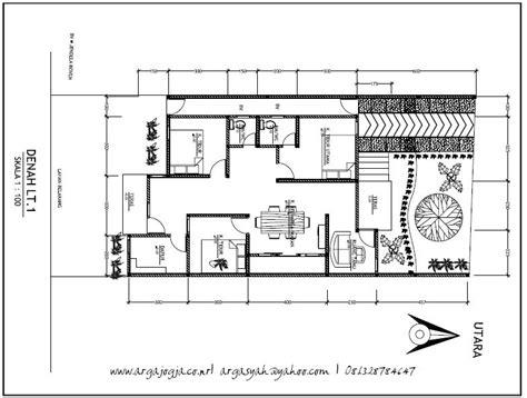 ide desain denah rumah  lahan memanjang
