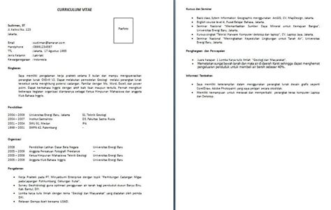 Resume Contoh Format by Contoh Resume