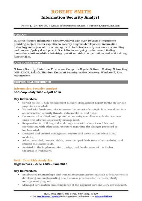 Information Security Resume by Information Security Analyst Resume Sles Qwikresume