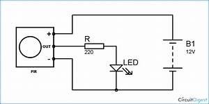 Pir Motion Detector  Sensor Circuit Diagram