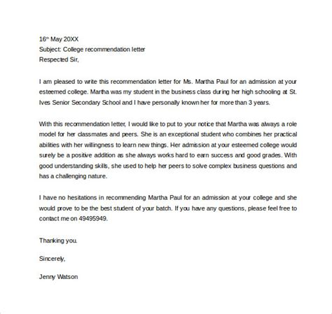 letter for recommendation sample personal letter of recommendation 21 download