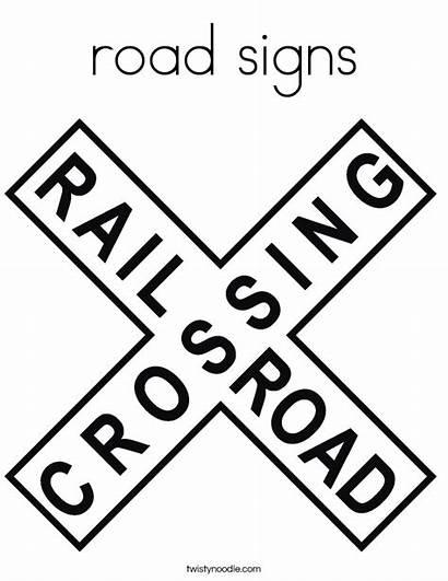 Coloring Signs Road Sign Railroad Crossing Built