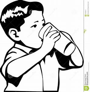 Drinking Water Black And White Clipart