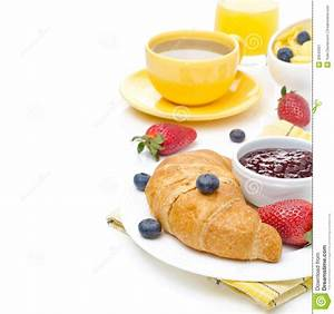 Breakfast With Croissant Jam Fresh Berries And Coffee