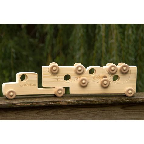 semi truck christmas ornaments wooden toy car with semi truck personalized handmade